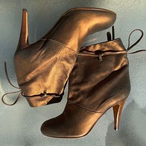 DKNY Italy Bronze Metallic Booties Leather Heels